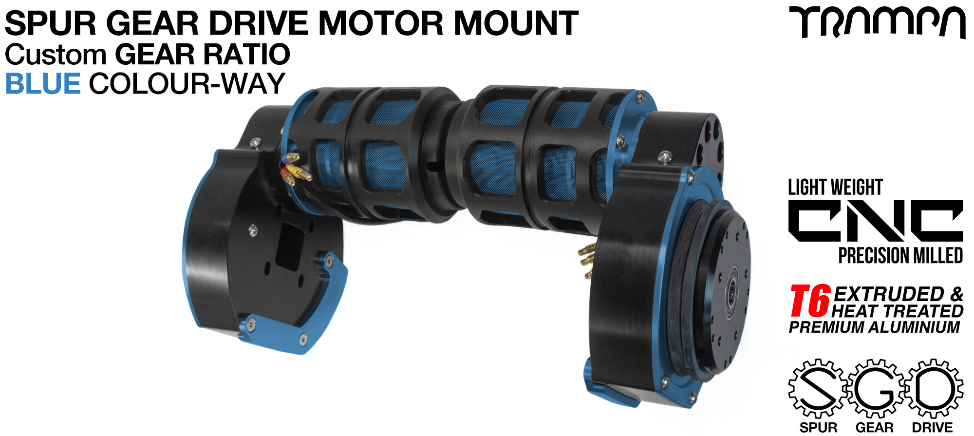Mountainboard Spur Gear Drive TWIN Motor Mount - BLUE