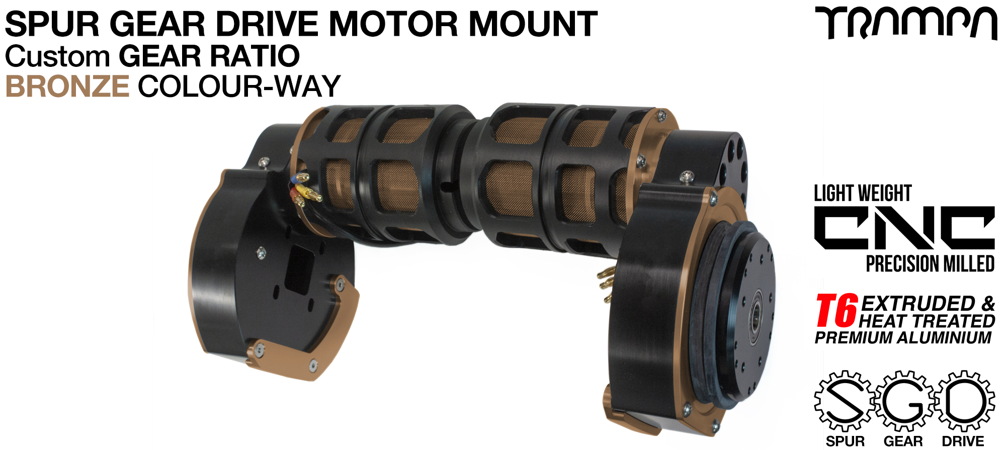 Mountainboard Spur Gear Drive TWIN Motor Mount - BRONZE