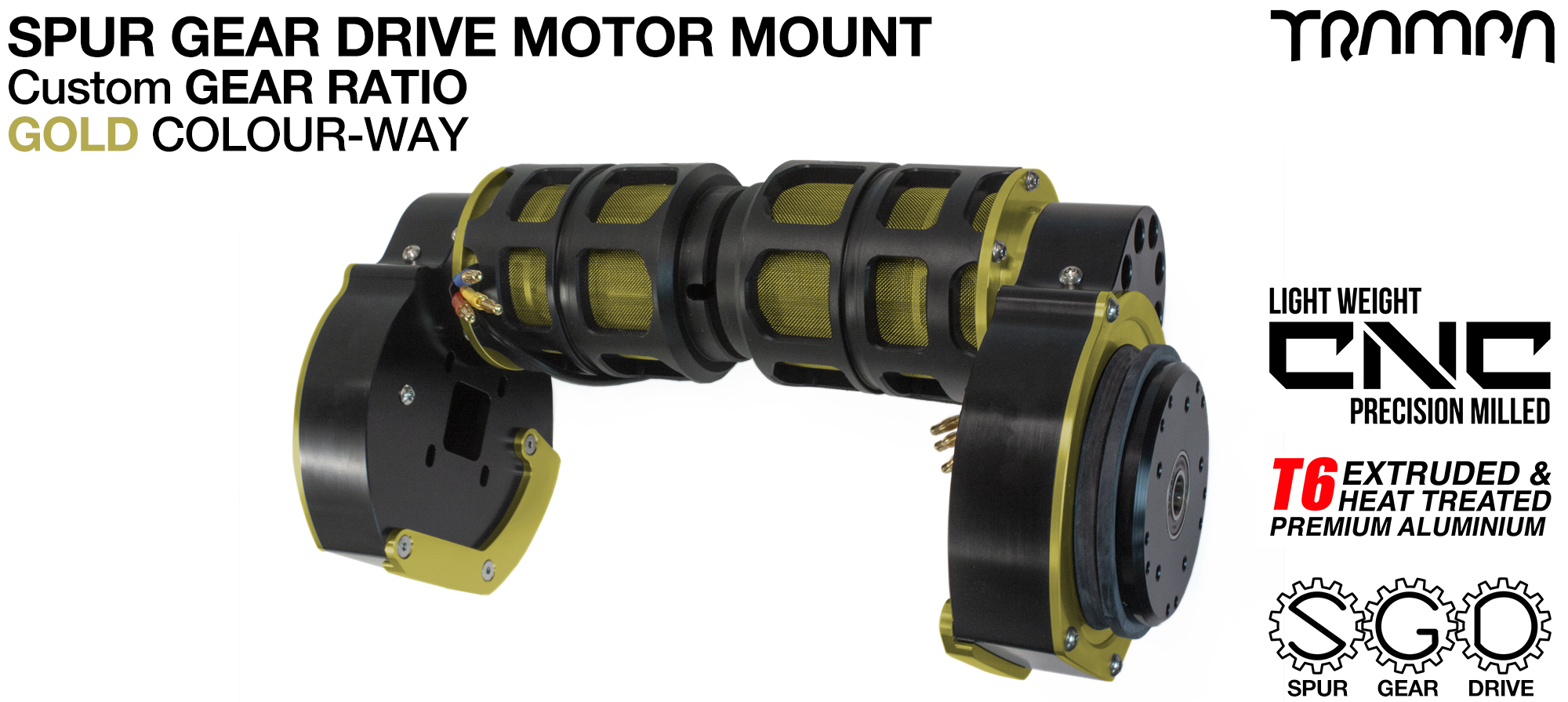 Mountainboard Spur Gear Drive TWIN Motor Mount - GOLD