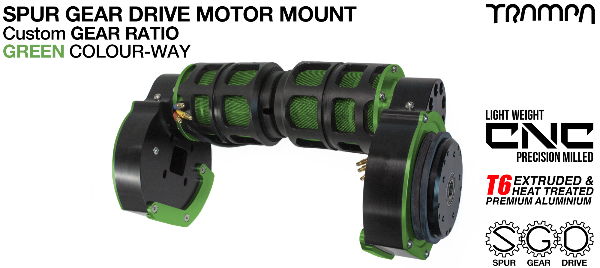 Mountainboard Spur Gear Drive TWIN Motor Mount - GREEN