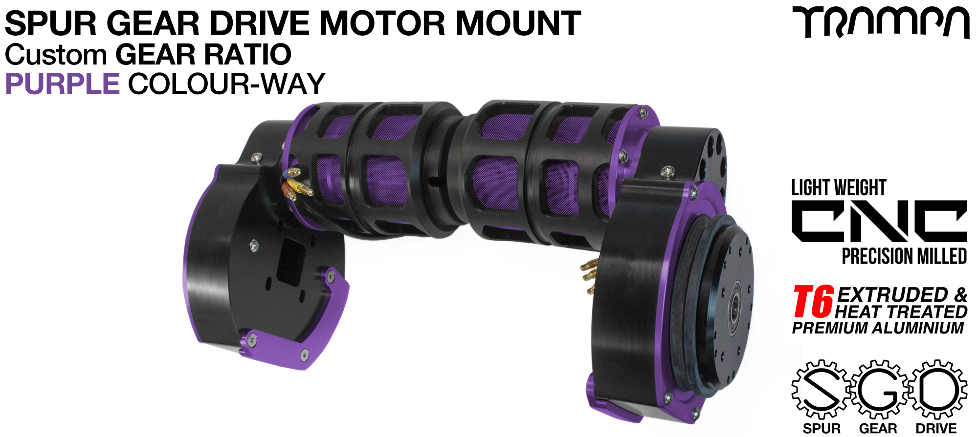 Mountainboard Spur Gear Drive TWIN Motor Mount - PURPLE