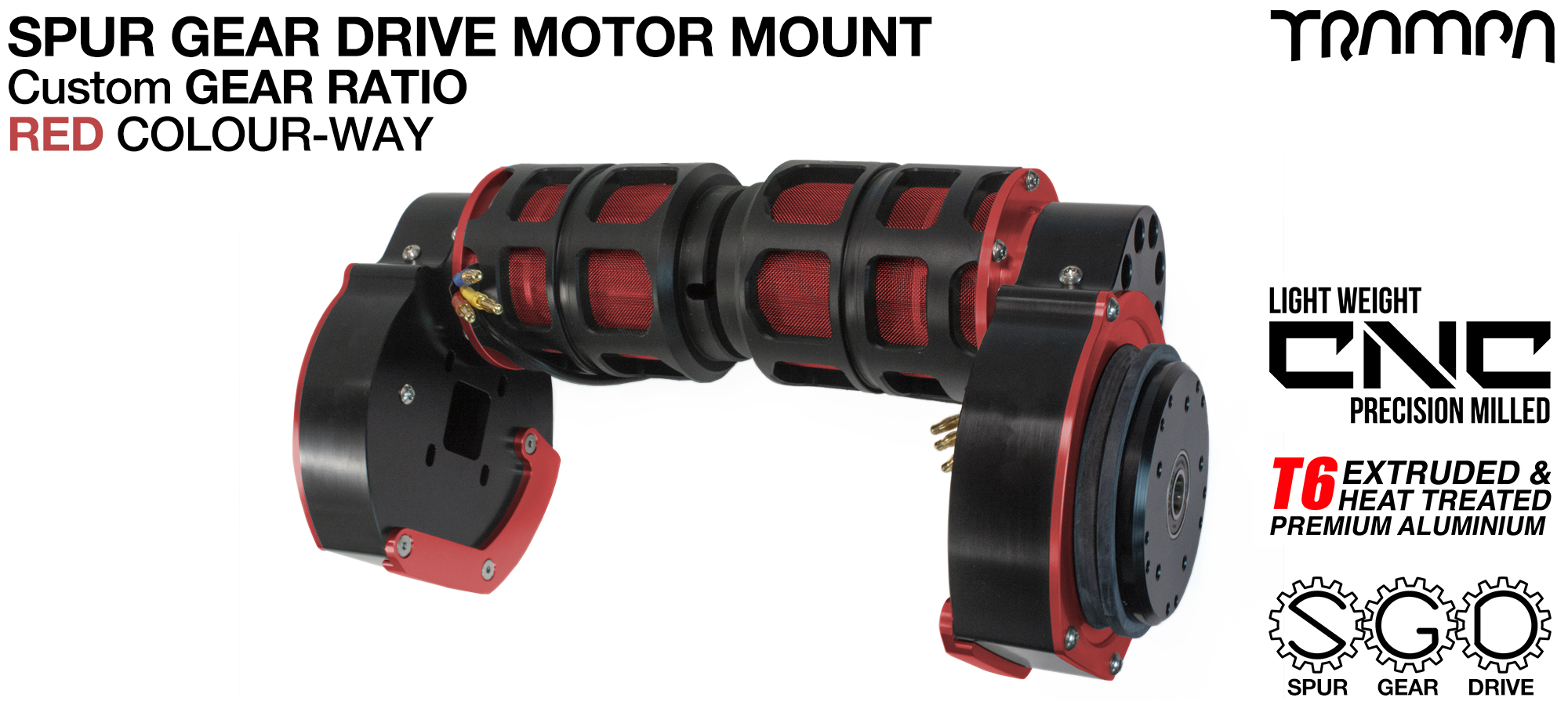 Mountainboard Spur Gear Drive TWIN Motor Mount - RED