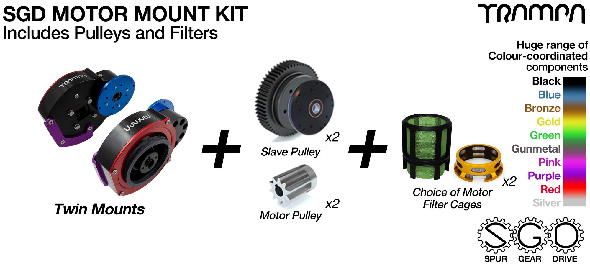 Mountainboard Spur Gear Drive TWIN Motor Mount