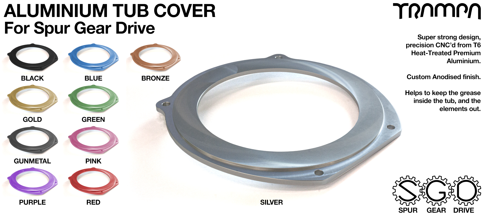 TRAMPA MKII Spur Gear Drive T6 Aluminium Tub Cover
