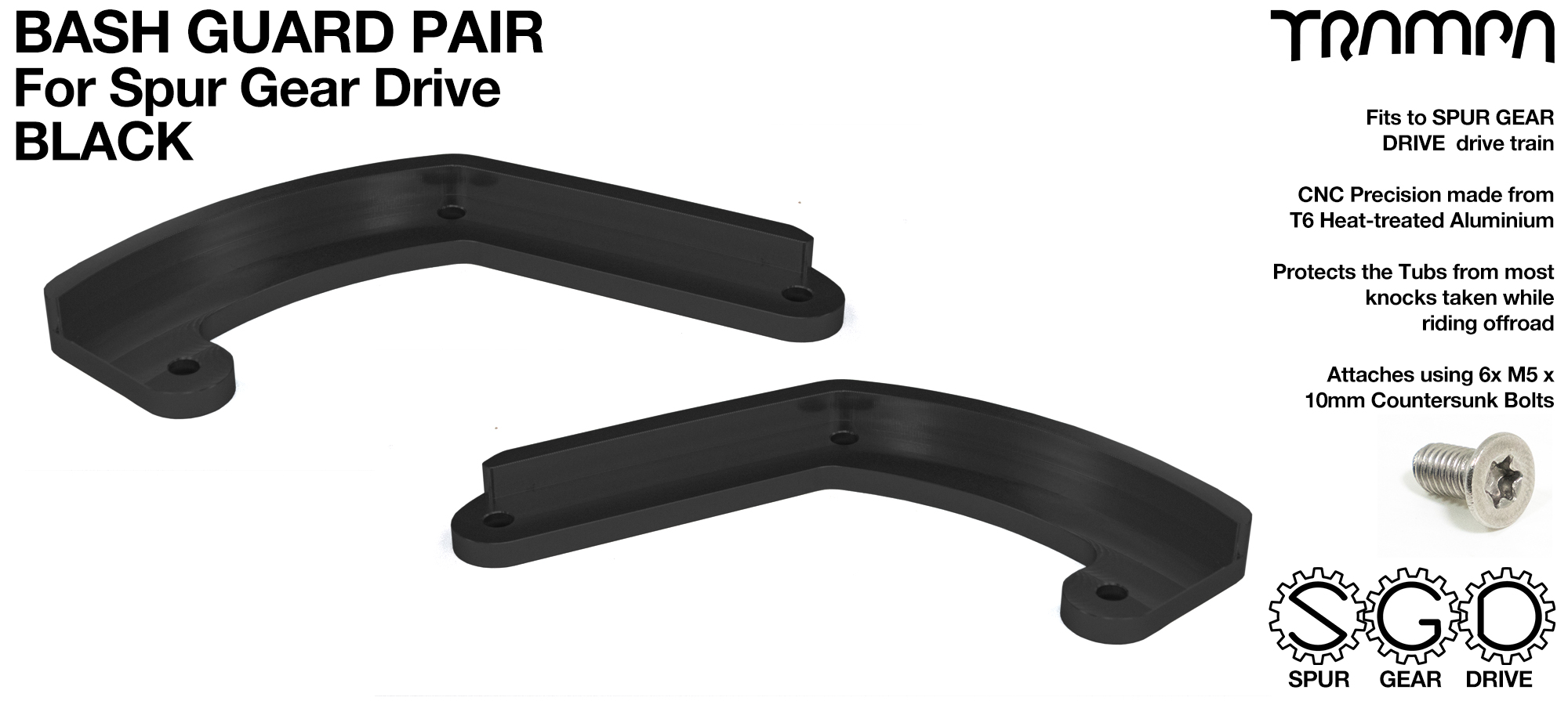 MkII Spur Gear Drive Bash Guards PAIR - BLACK