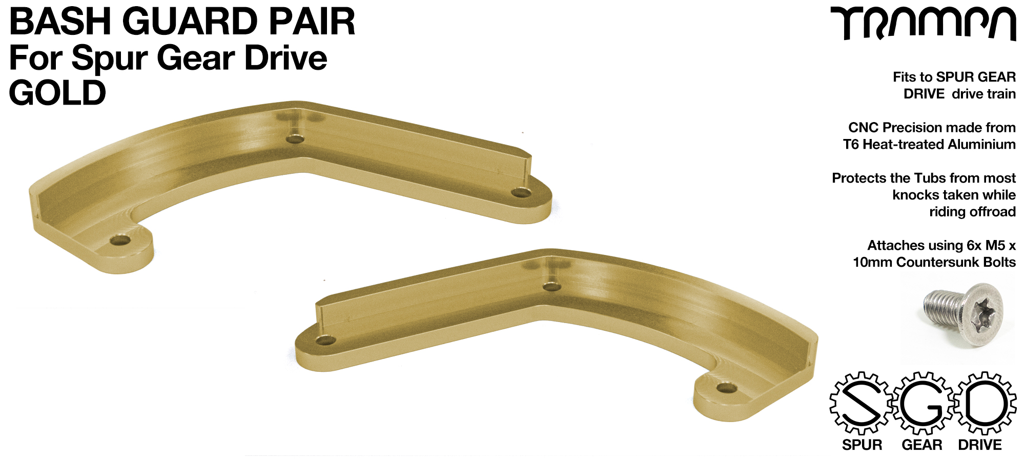 MkII Spur Gear Drive Bash Guards PAIR - GOLD