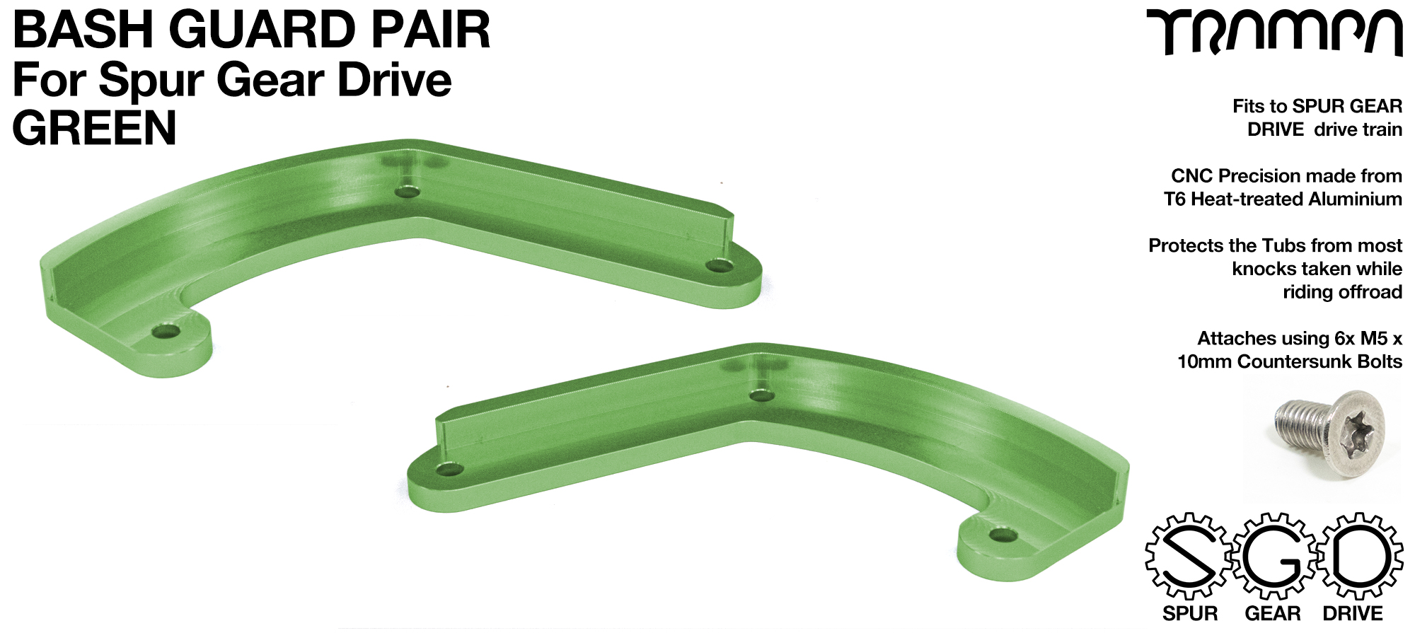 MkII Spur Gear Drive Bash Guards PAIR - GREEN