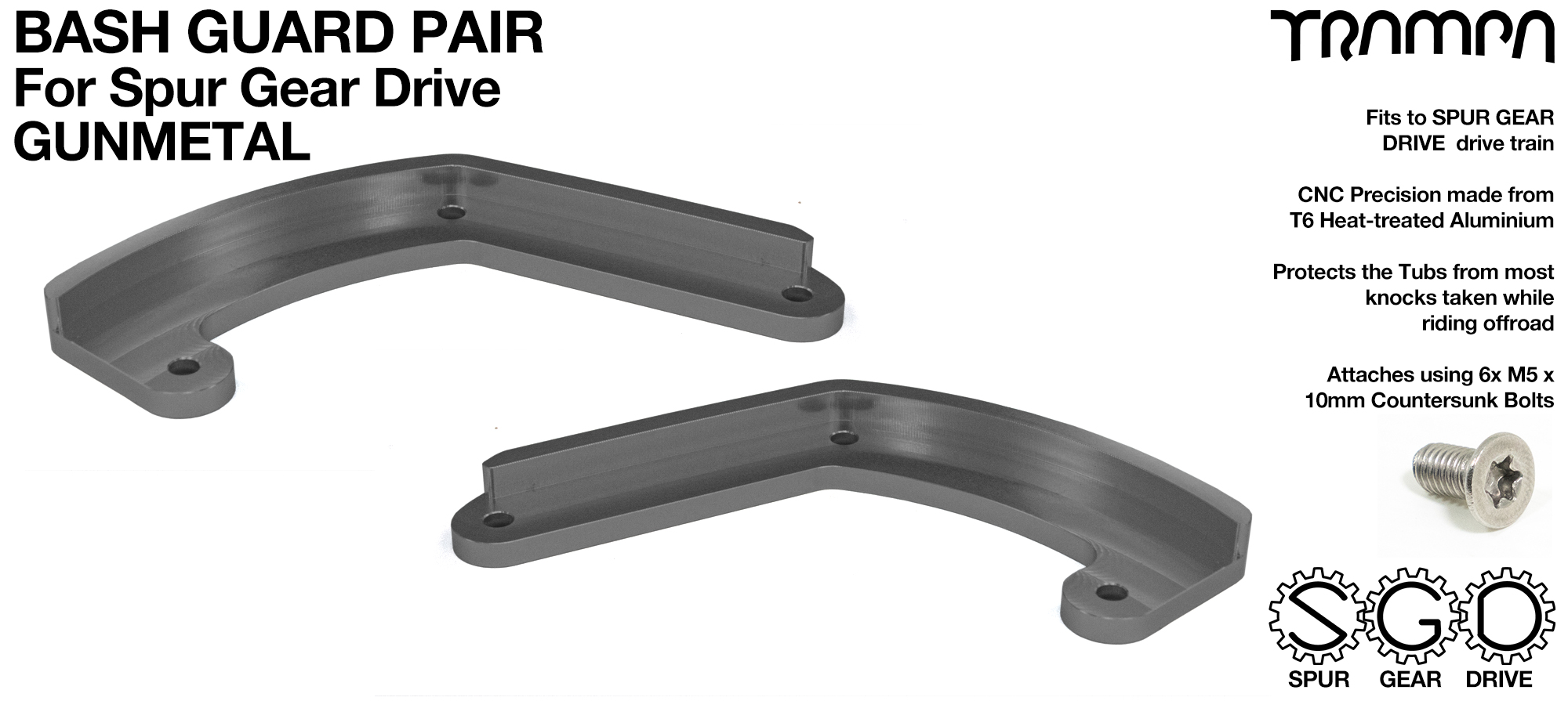 MkII Spur Gear Drive Bash Guards PAIR - GUNMETAL