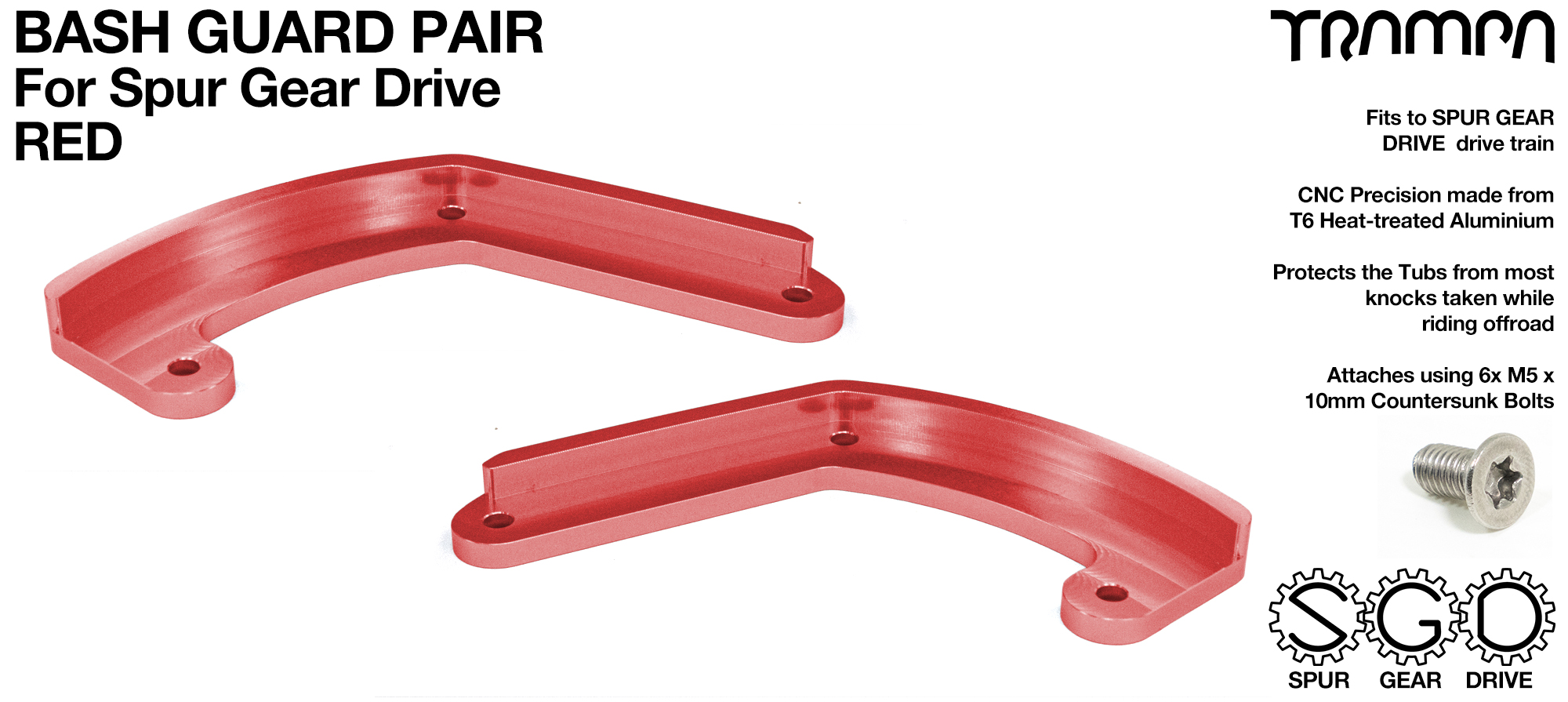 MkII Spur Gear Drive Bash Guards PAIR - RED