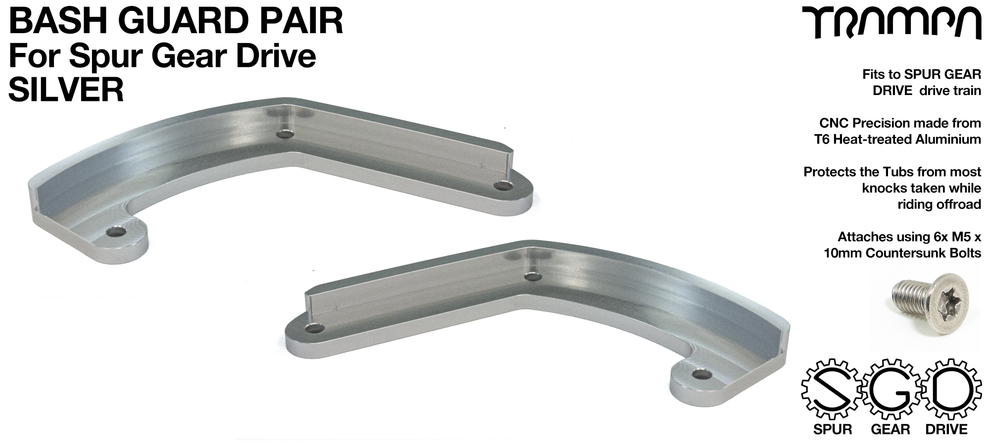 MkII Spur Gear Drive Bash Guards PAIR - SILVER
