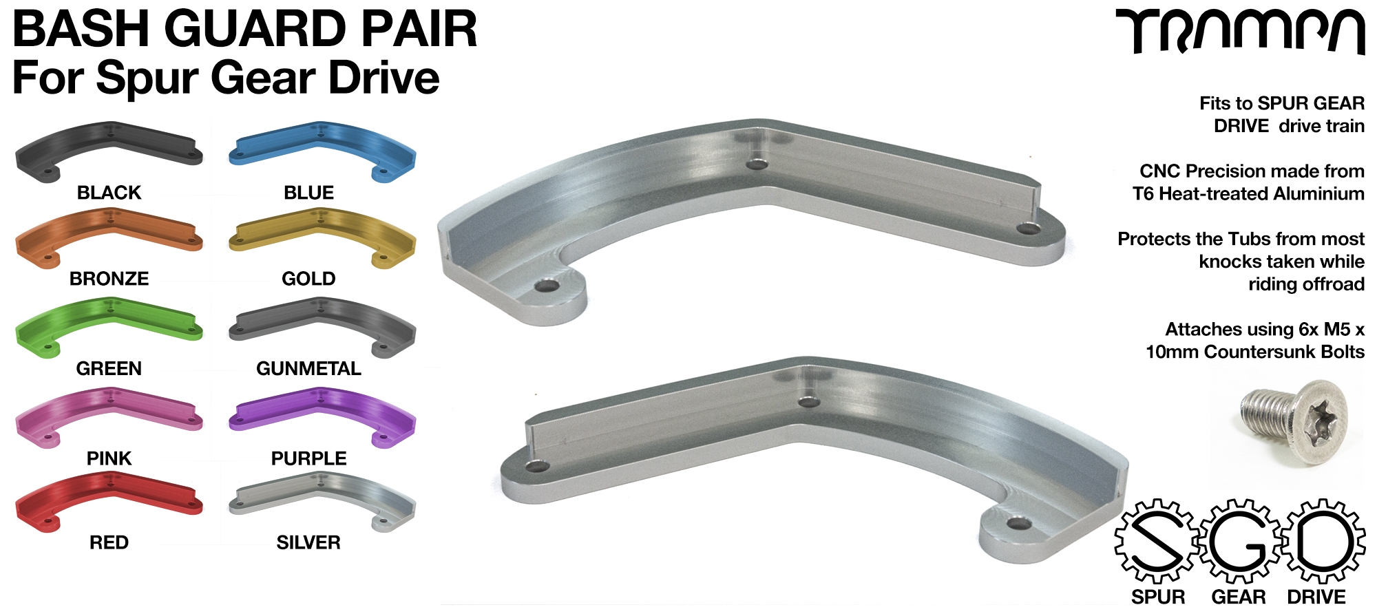 MkII Spur Gear Drive Bash Guards PAIR