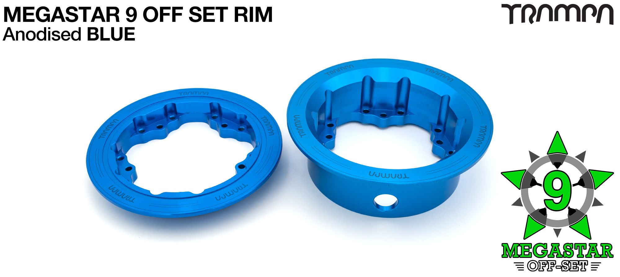 9 Inch DEEP DISH Off-Set MEGASTAR Rims BLUE - Place two on the rear of your Electric Mountainboard for extra Grip & Top Speed! (COPY)