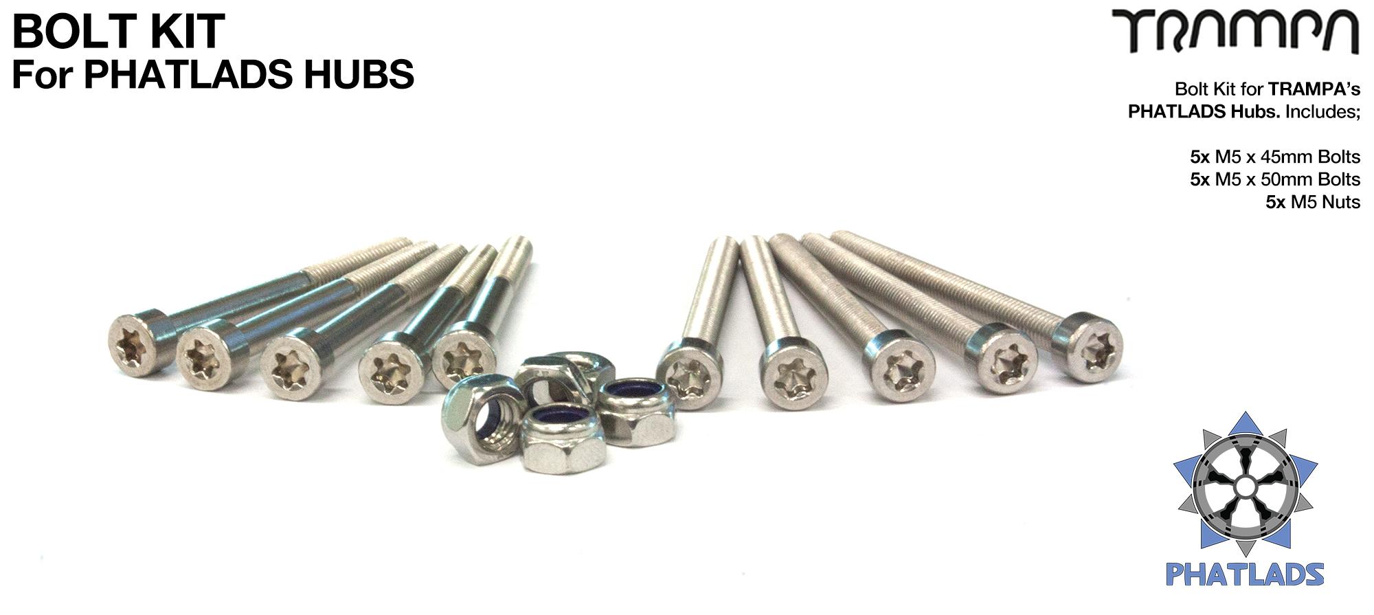 PHATLADS hub complete Marine Grade Stainless Steel Bolt Kit