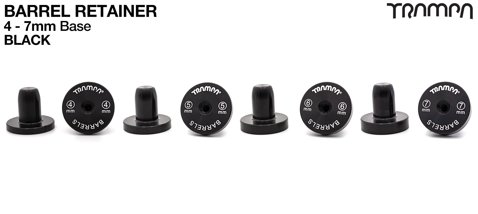 BARRELS Retainer 4,5,6 or 7mm BASE - BLACK