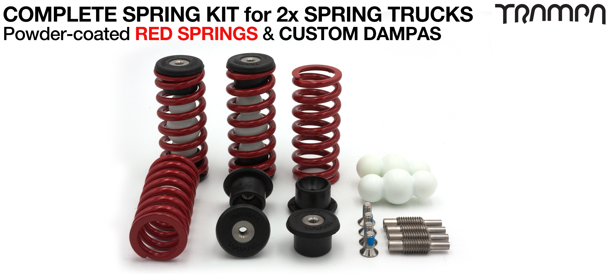 Complete Spring kit for 1x Board = 4x RED Springs 4x Dampa 8x Spring Retainers 4x Spring Adjuster & 4 M5x12mm Countersunk Bolt