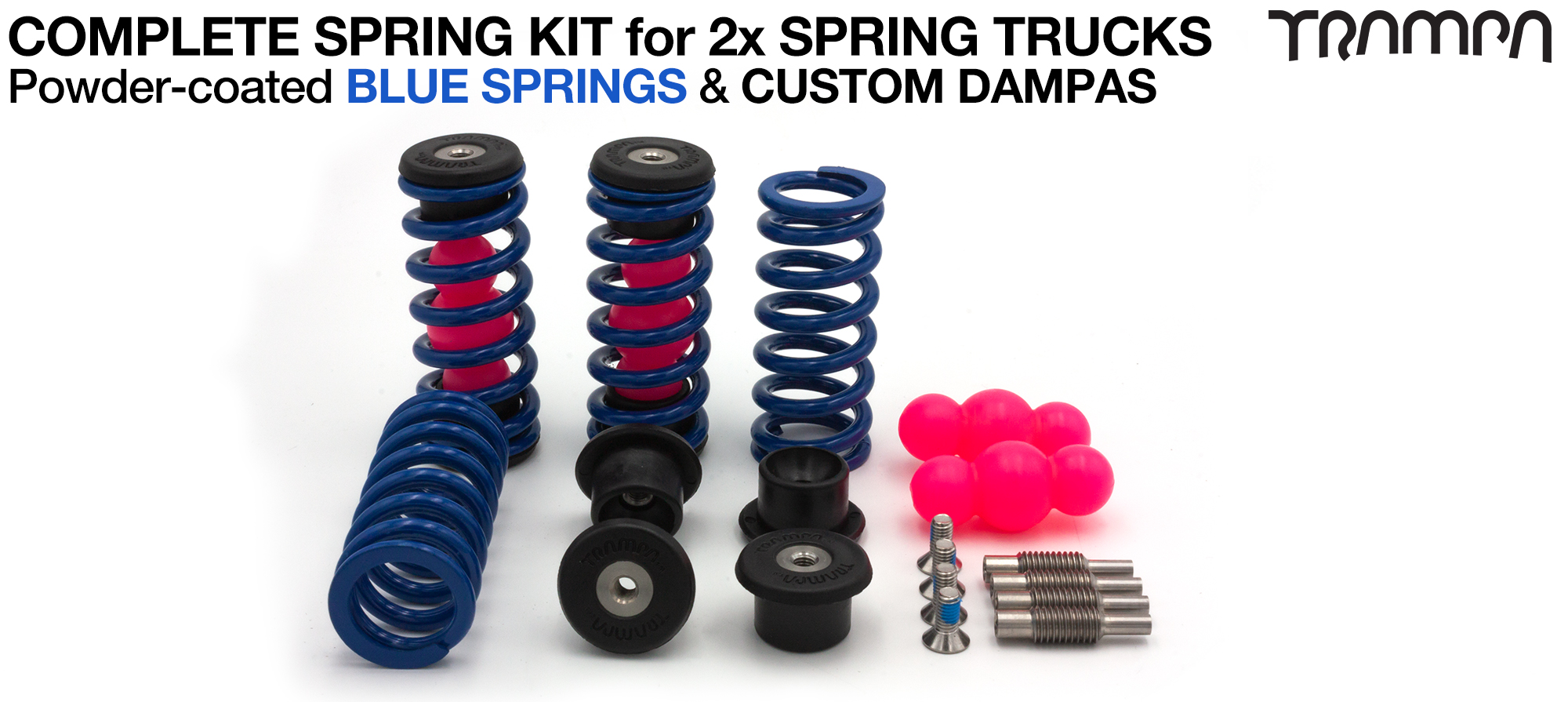 Complete Spring kit for 1x Board = 4x BLUE Springs 4x Dampa 8x Spring Retainers 4x Spring Adjuster & 4 M5x12mm Countersunk Bolt