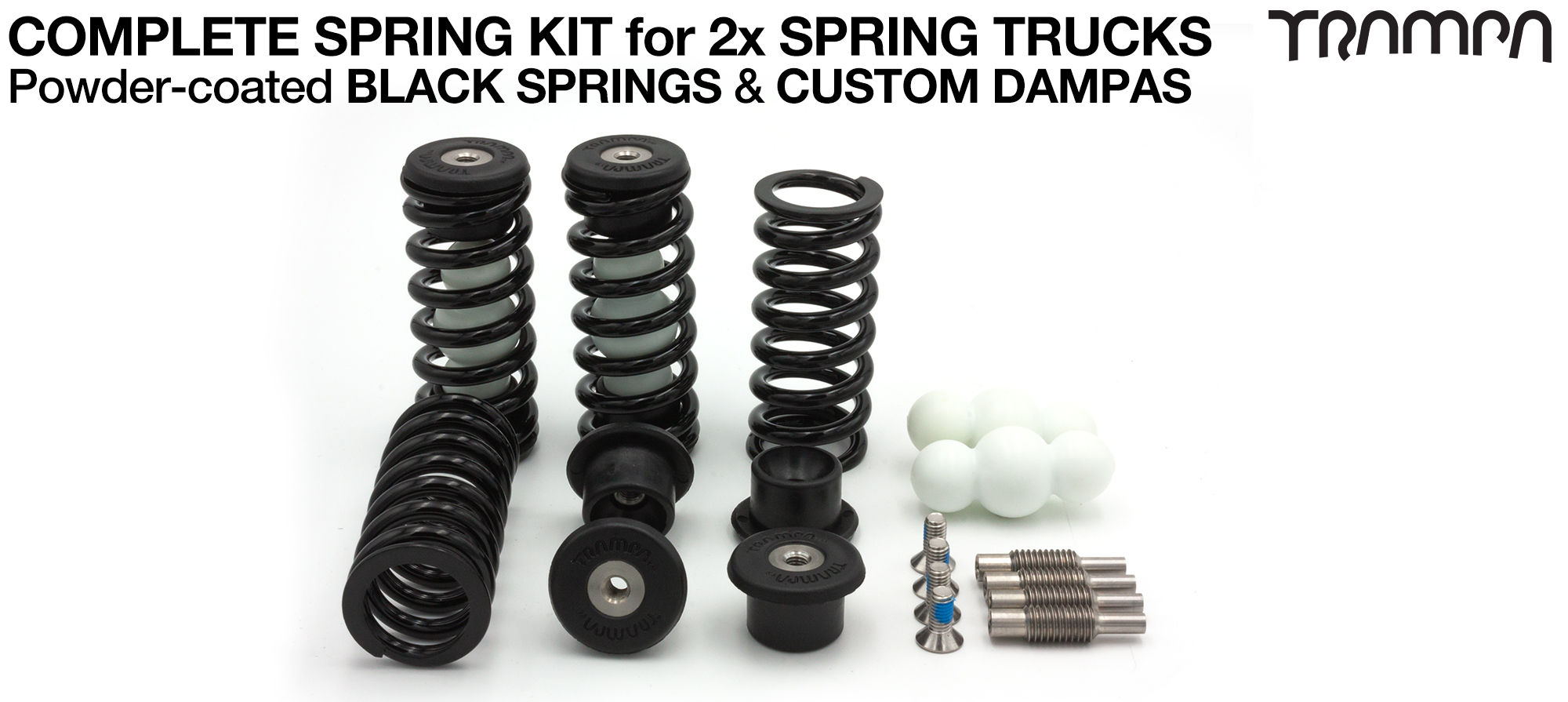 Complete Spring kit for 1x Board = 4x BLACK Springs 4x Dampa 8x Spring Retainers 4x Spring Adjuster & 4 M5x12mm Countersunk Bolt