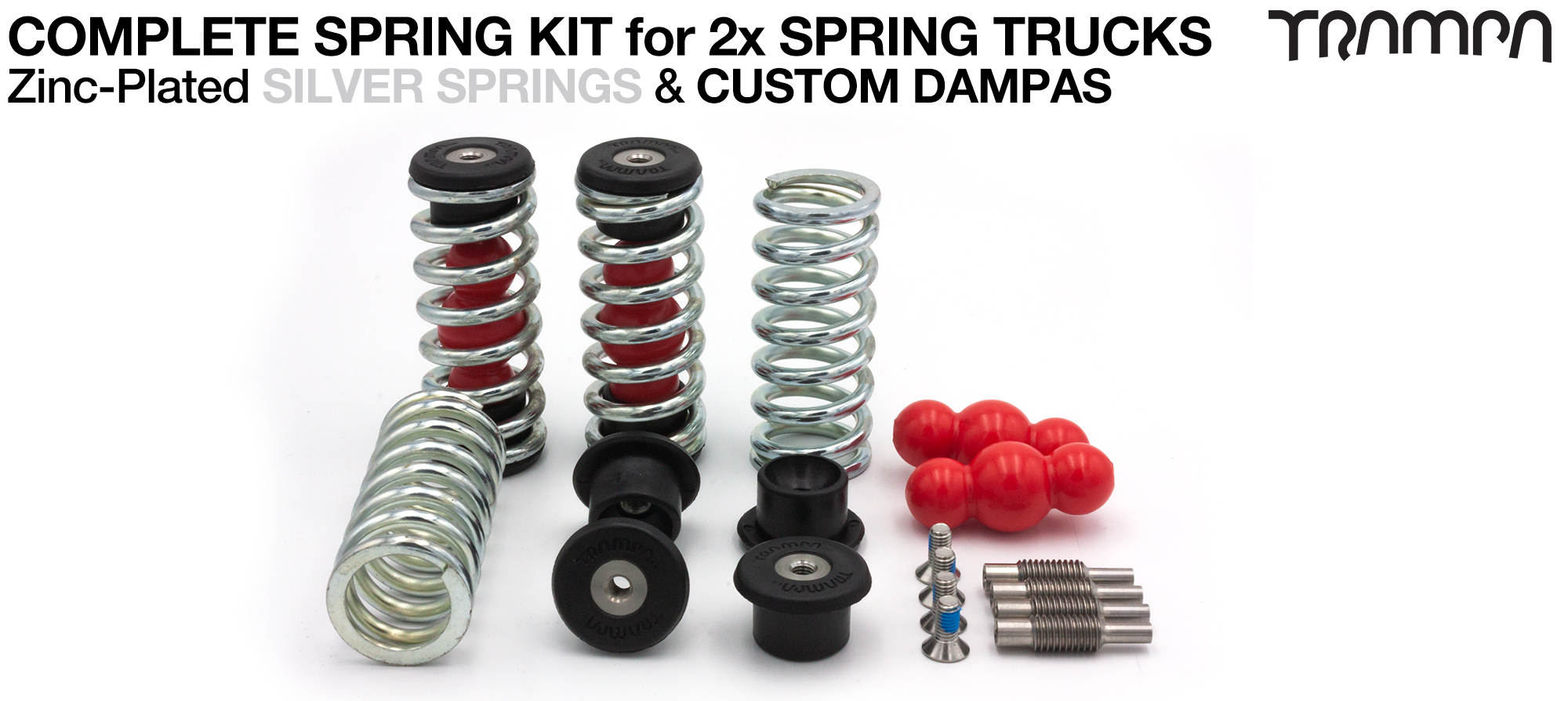 Complete Spring kit for 1x Board = 4x SILVER Springs 4x Dampa 8x Spring Retainers 4x Spring Adjuster & 4 M5x12mm Countersunk Bolt