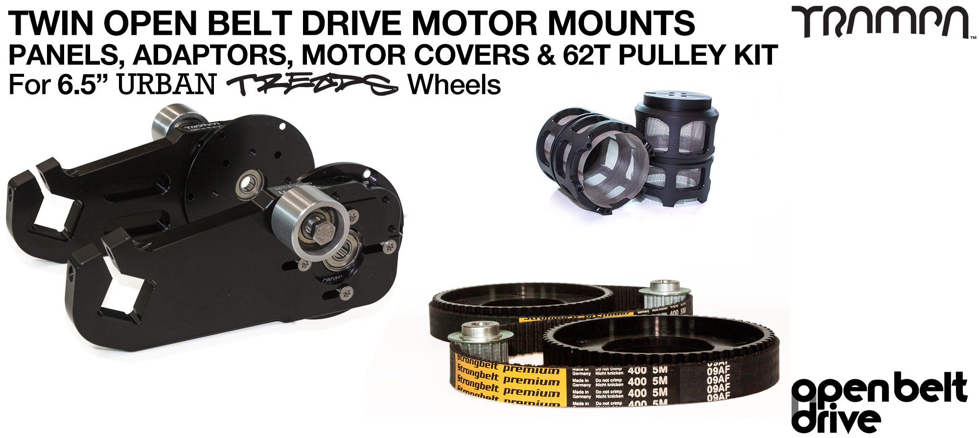 66T OBD Motor Mount with 62T Pulley kit & Motor Filters - TWIN