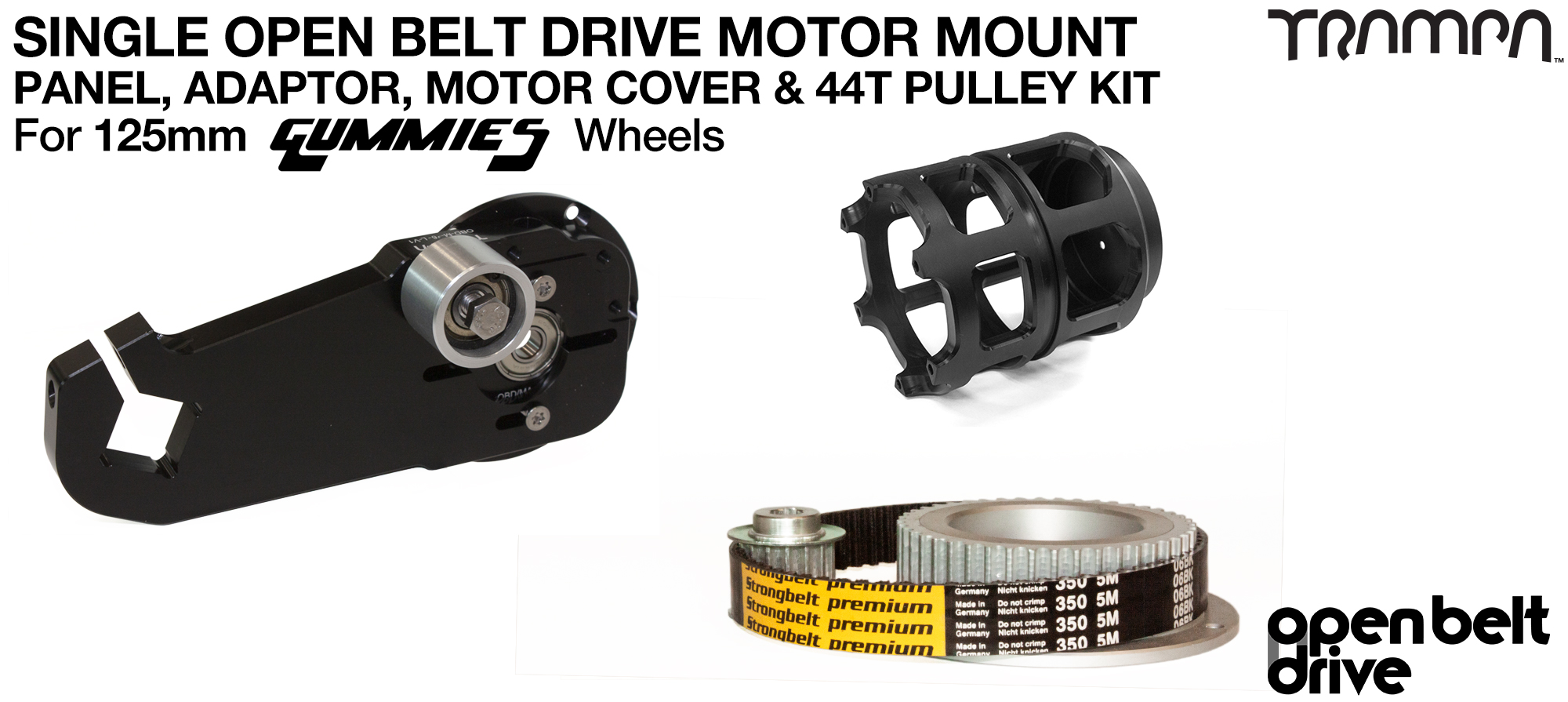 66T OBD Motor Mount with 44T Pulley kit & Motor Filters - SINGLE
