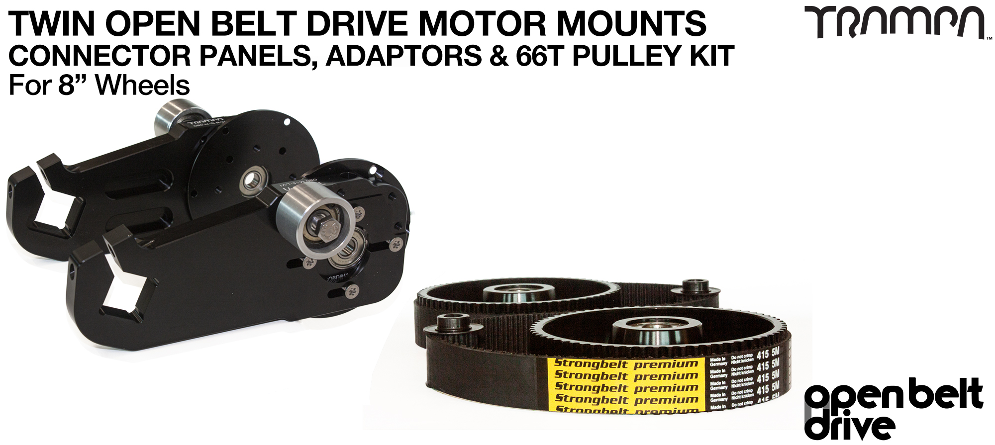 66T OBD Motor Mount & 66 tooth Pulley for 8 Inch Wheel - TWIN