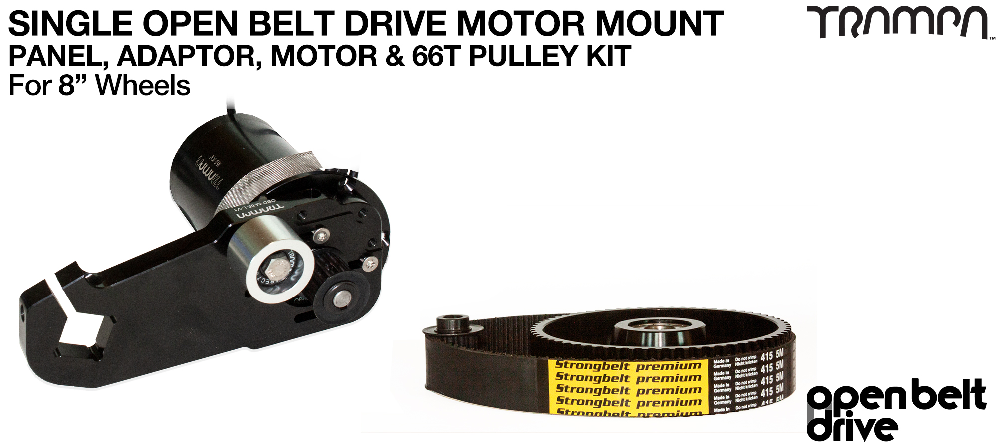 66T OBD Motor Mount & 66 tooth Pulley for 8 inch Wheel with custom Motor - SINGLE