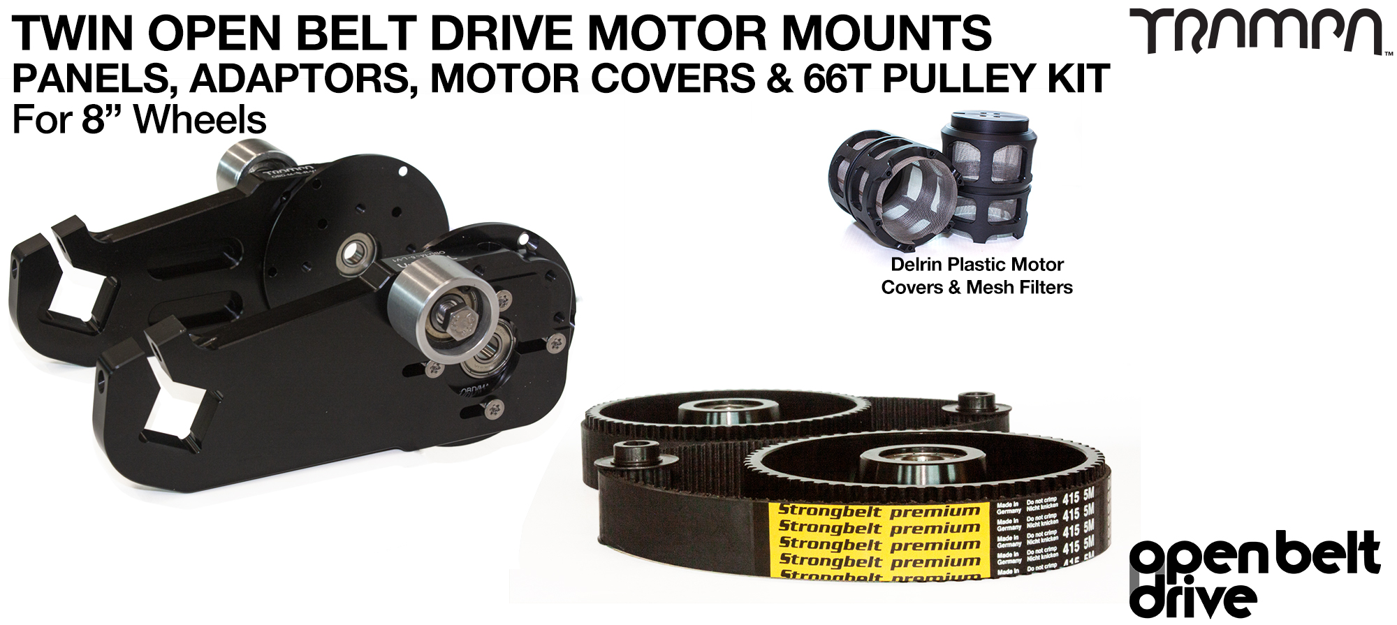 66T Open Belt Drive OBD Motor Mount with 66 tooth Pulley for 8 inch Wheels Custom TRAMPA Motor & Motor Protection - TWIN