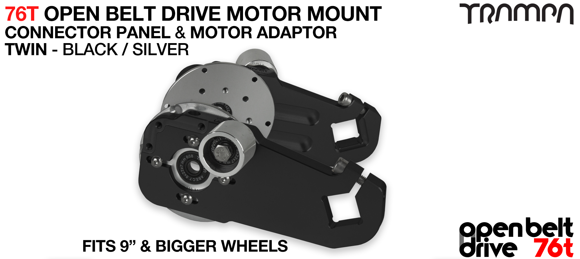 76T Open Belt Drive Motor Mount & Motor Adaptor - TWIN BLACK