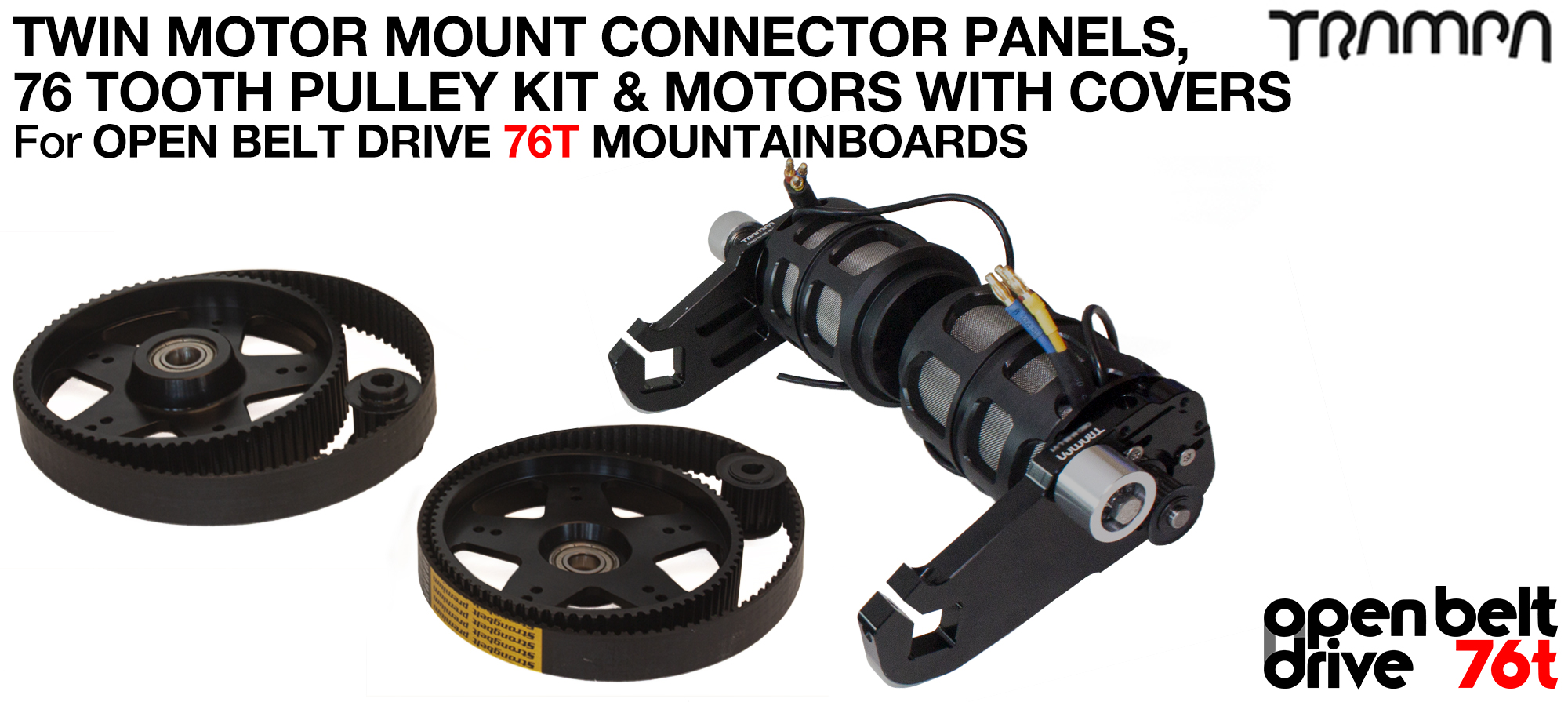 76T OPEN BELT DRIVE Motor Mount & 76T Pulley Kit with MOTOR & Filters - TWIN