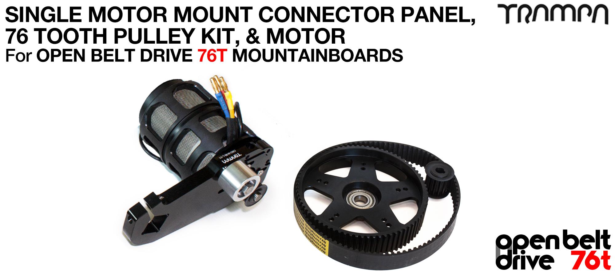 76T OPEN BELT DRIVE Motor Mount & 76T Pulley Kit with MOTOR & Filters - SINGLE