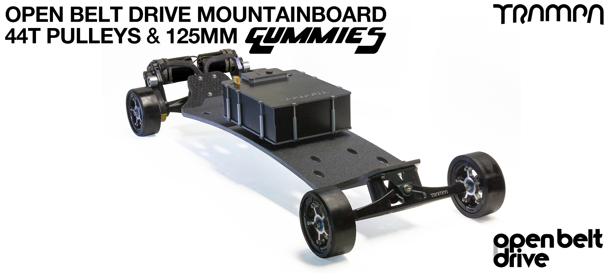 2WD 66T Open Belt Drive TRAMPA Electric Mountainboard with 125mm GUMMIES Giant Longboard Wheels & 44 Tooth Pulleys - CUSTOM No Bindings