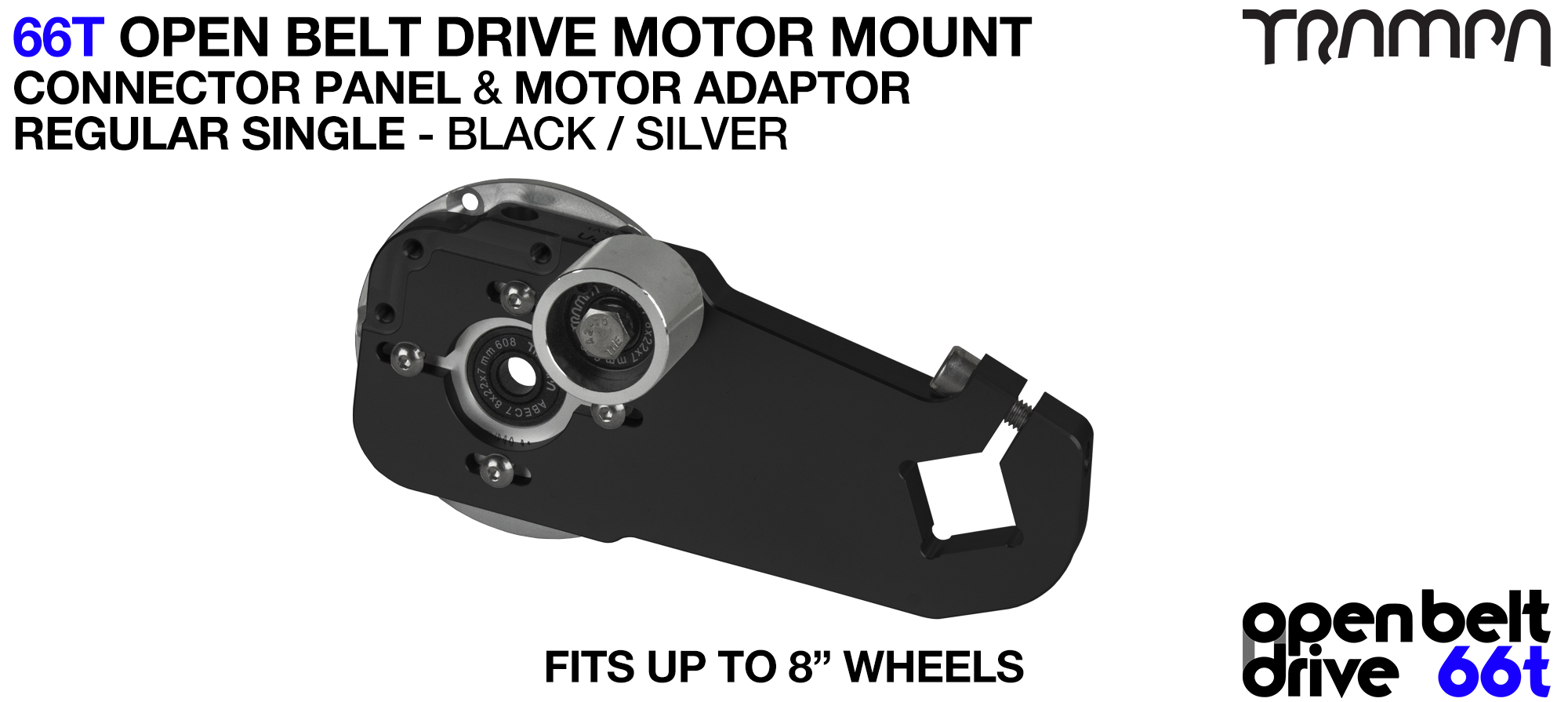 66T OPEN BELT DRIVE Motor Mount & Motor Adaptor - SINGLE BLACK