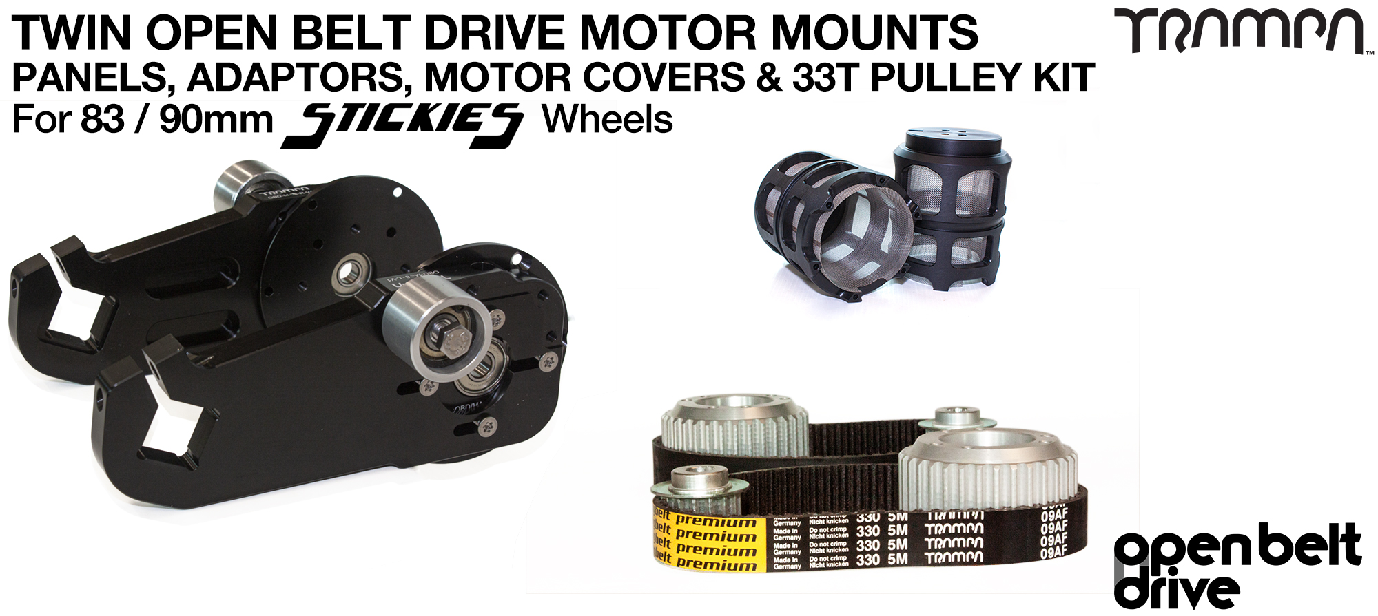 66T OBD Motor Mount with 33 / 37T Pulley kit & Motor Filters - TWIN