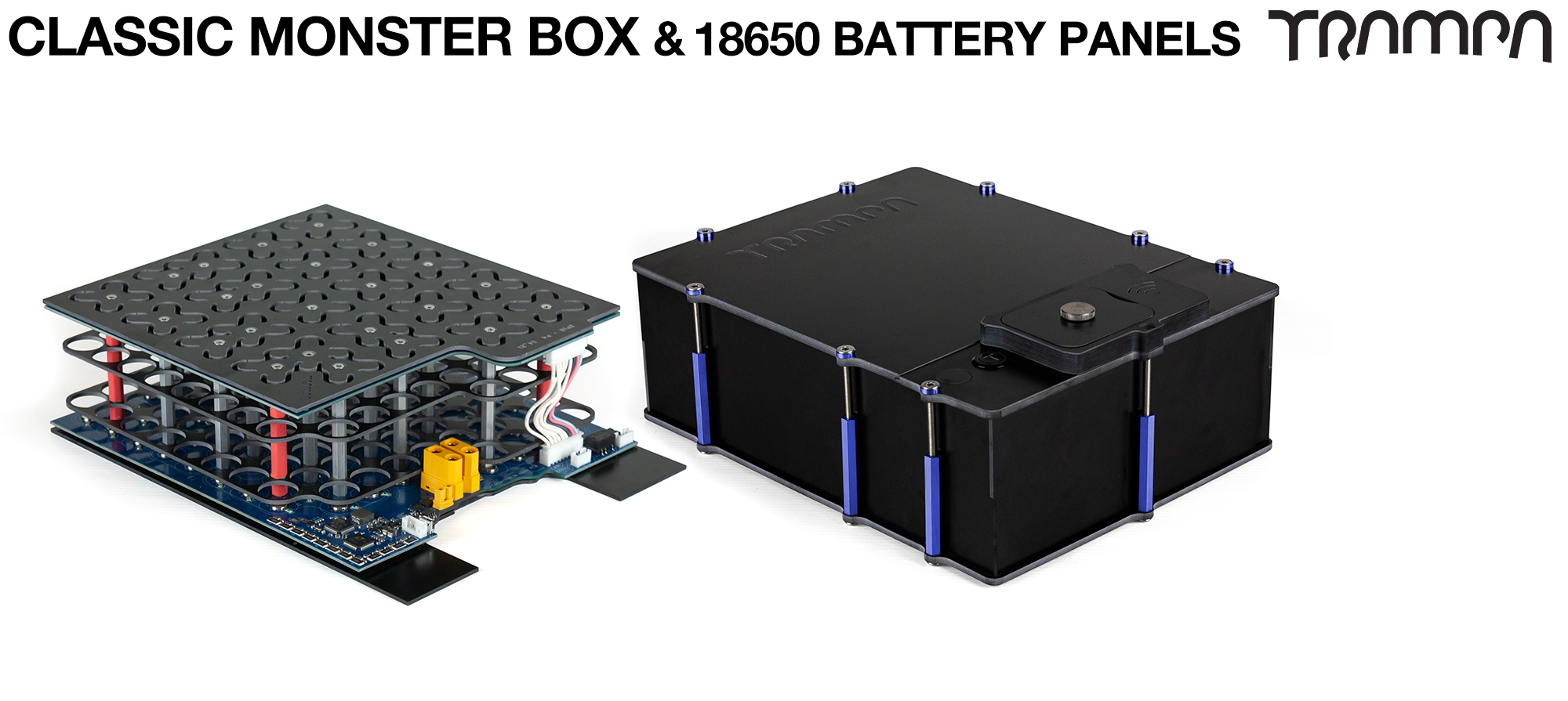 MONSTER BOX MkIV fits 84x 18650 cells & has space for 2x VESC 6 MkIV. Its specifically made to work in conjunction with TRAMPA's Electric Decks but can be adapted to fit anything