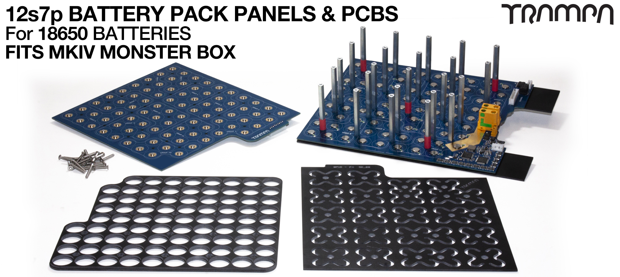 18650 PCB Pack with integrated BMS - Fits MKIV Classic MONSTER box & 84 x 18650 cells to give 21,000 mAh (21A) of range