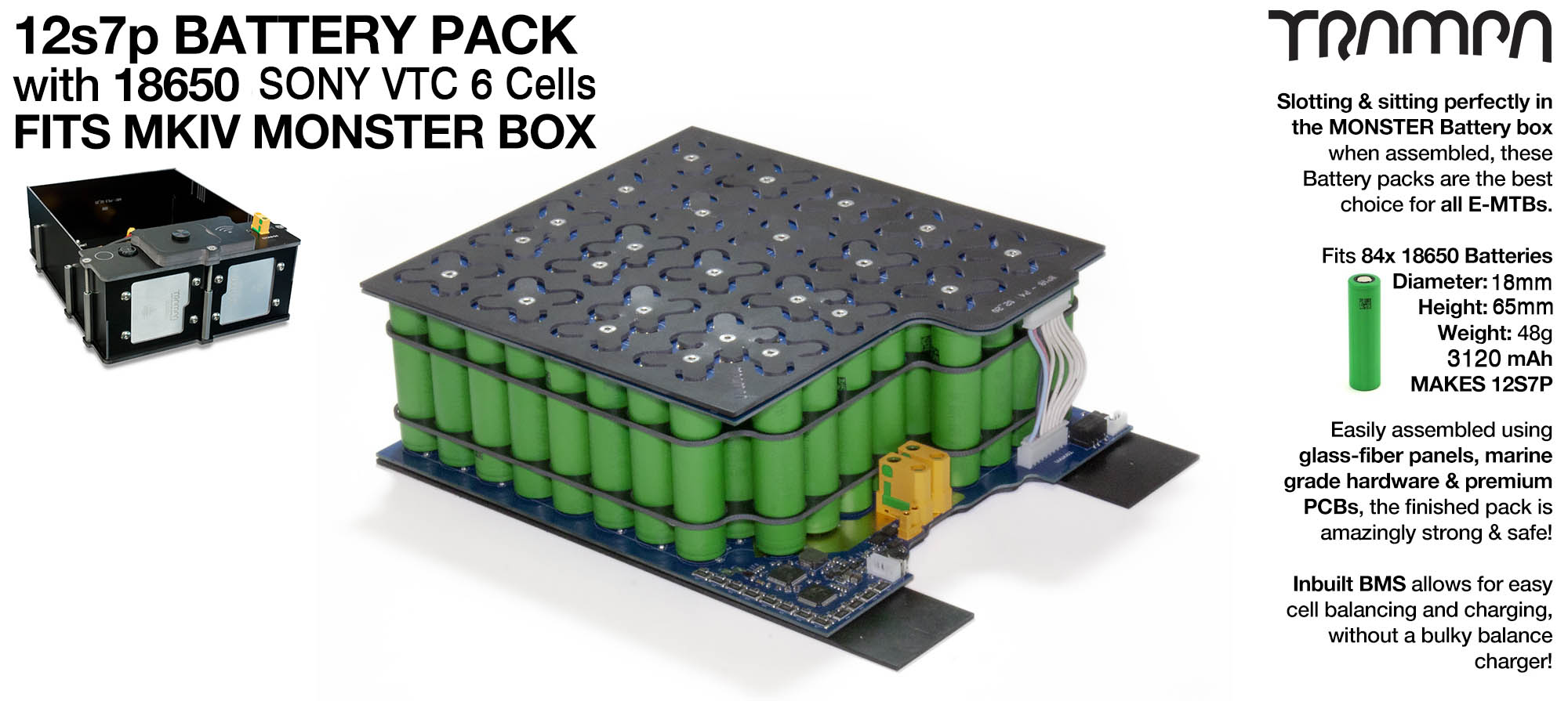 18650 PCB Pack with 12s7p (84x cells) = 21Ah = 970Wh . Specifically made to work in conjunction in TRAMPA's Monster Box on TRAMPA's Electric Decks but can be adapted to fit pretty much anything - UK Customers Only