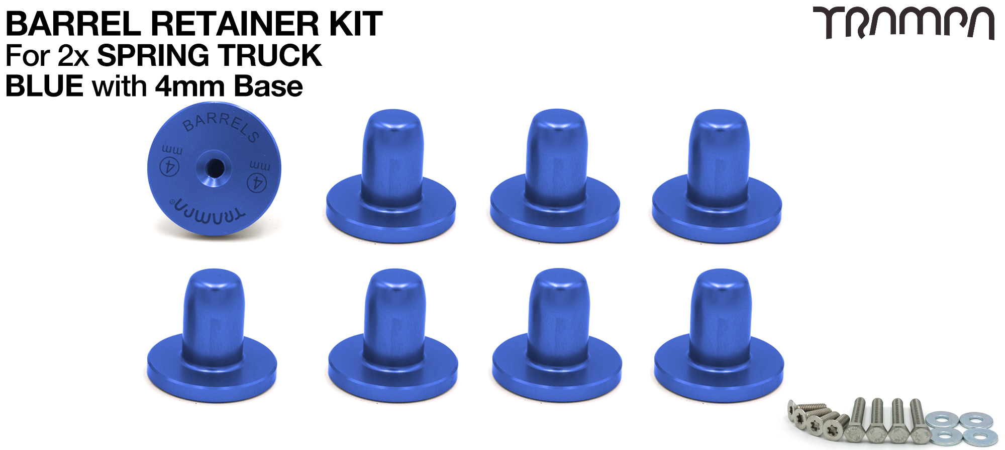 BLUE Barrel Retainers x8 with 4mm Base