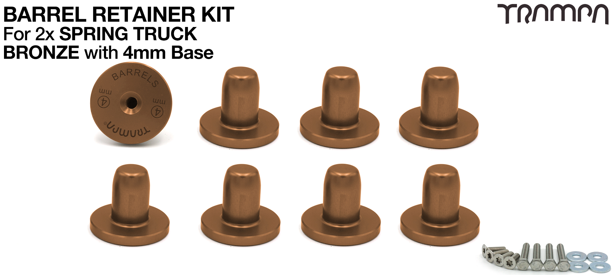 BRONZE Barrel Retainers x8 with 4mm Base