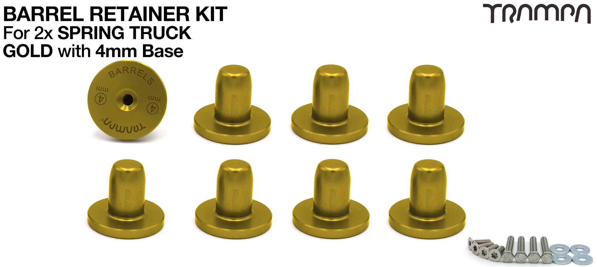GOLD Barrel Retainers x8 with 4mm Base