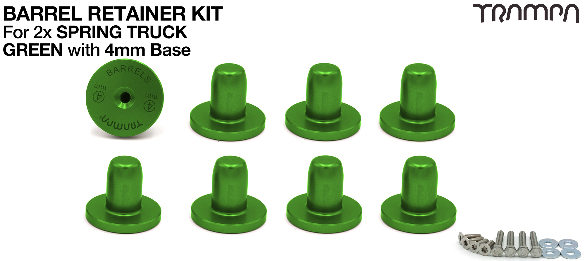 GREEN Barrel Retainers x8 with 4mm Base