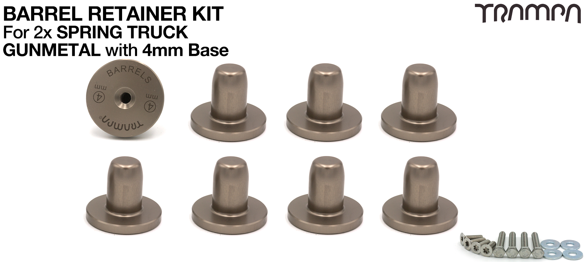 GUNMETAL Barrel Retainers x8 with 4mm Base