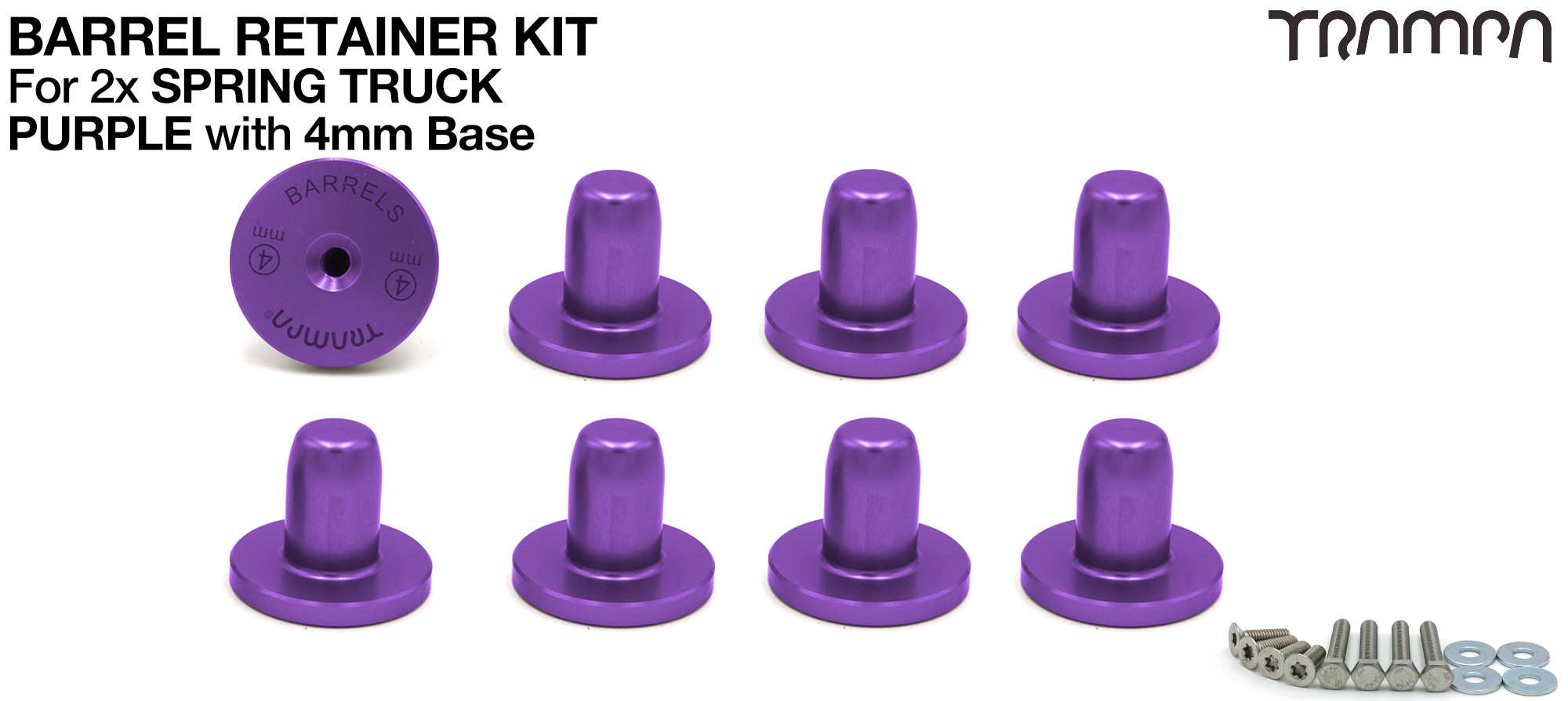 PURPLE Barrel Retainers x8 with 4mm Base