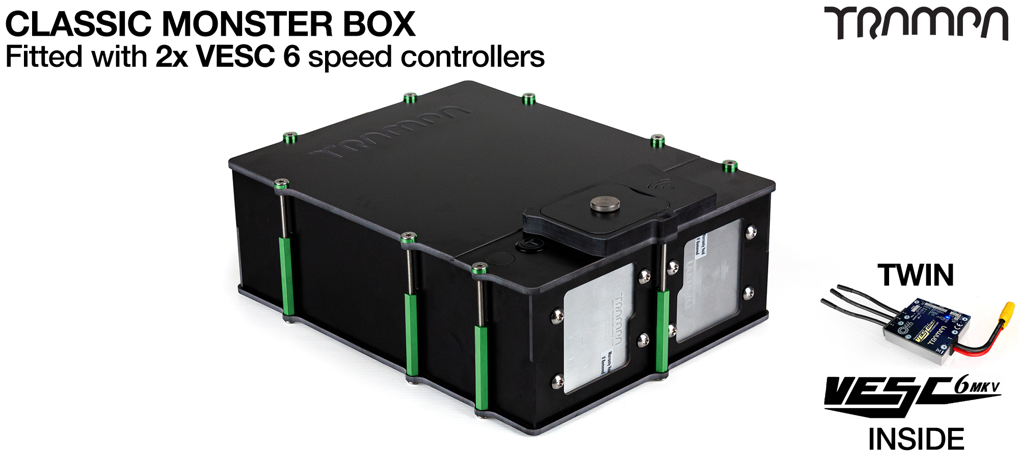 The MONSTER BOX MkIV fitted with TWIN VESC 6 - fits 84 18650 cells is Made specifically to work in conjunction with TRAMPA's Electric Decks but can be modified to power many things!