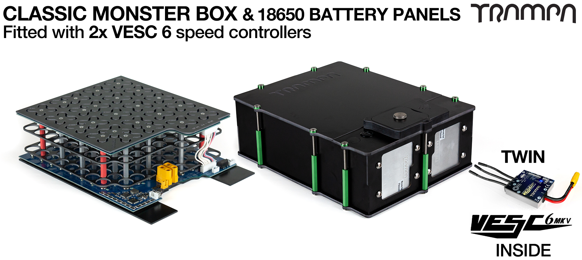 MONSTER BOX MkIV - with 2x VESC & 18650 PCB Pack fits 84x 18650 cells. Is specifically made to work in conjunction with TRAMPA's Electric Decks but can be adapted to fit anything