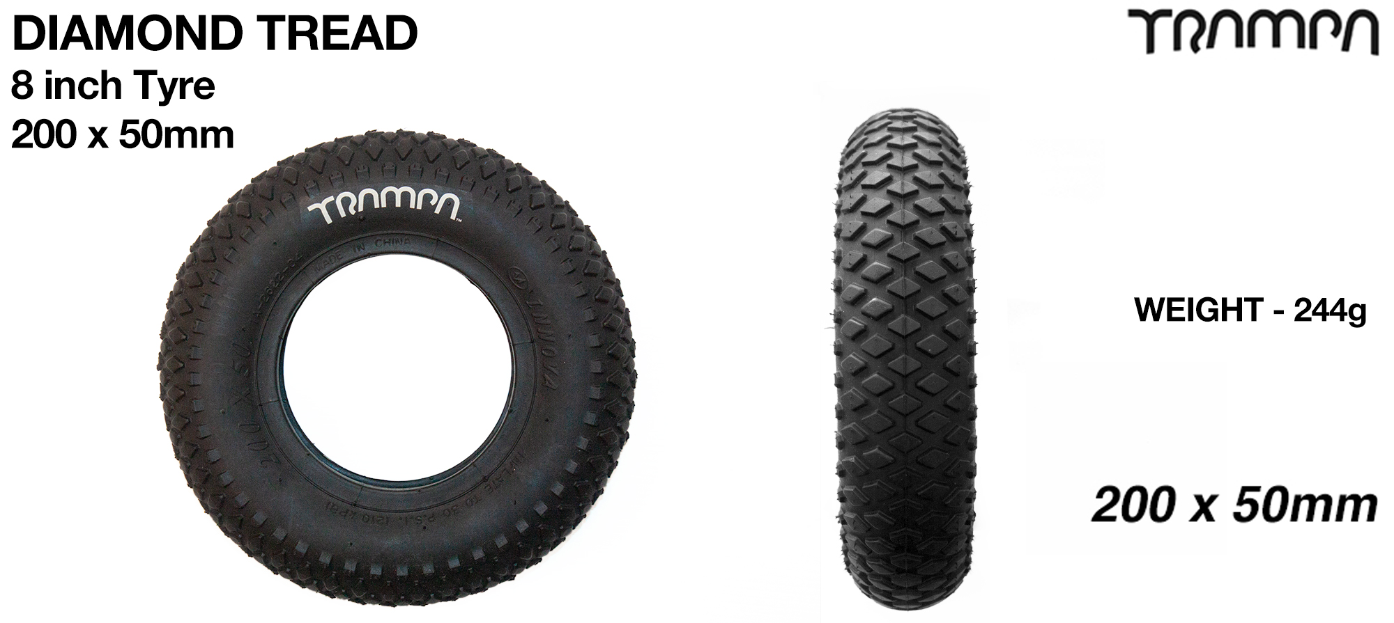 8 Inch Diamond Tread Tyre