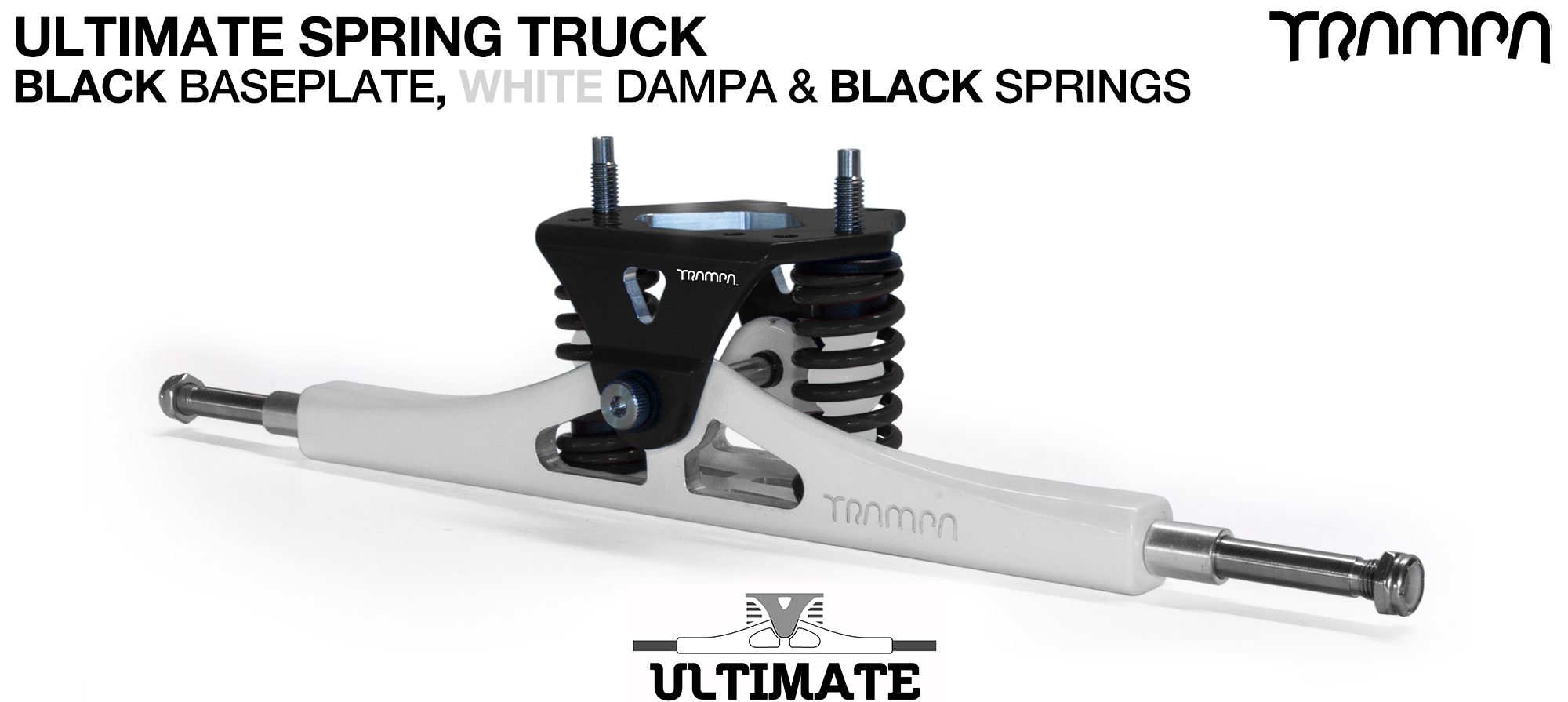 ULTIMATE ATB TRUCK - WHITE ATB Hanger with TITANIUM Axles & Kingpin & BLACK Baseplate