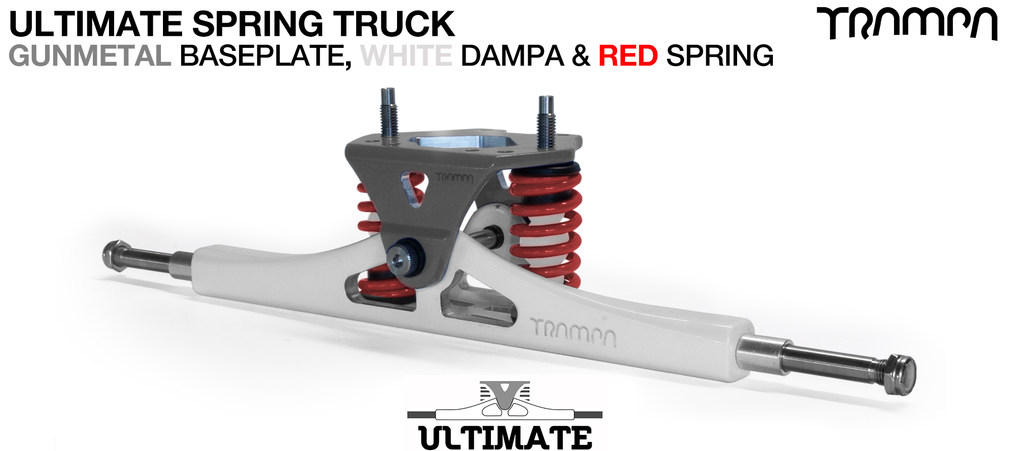 ULTIMATE ATB TRUCK - WHITE ATB Hanger with TITANIUM Axles & Kingpin & GUNMETAL Baseplate