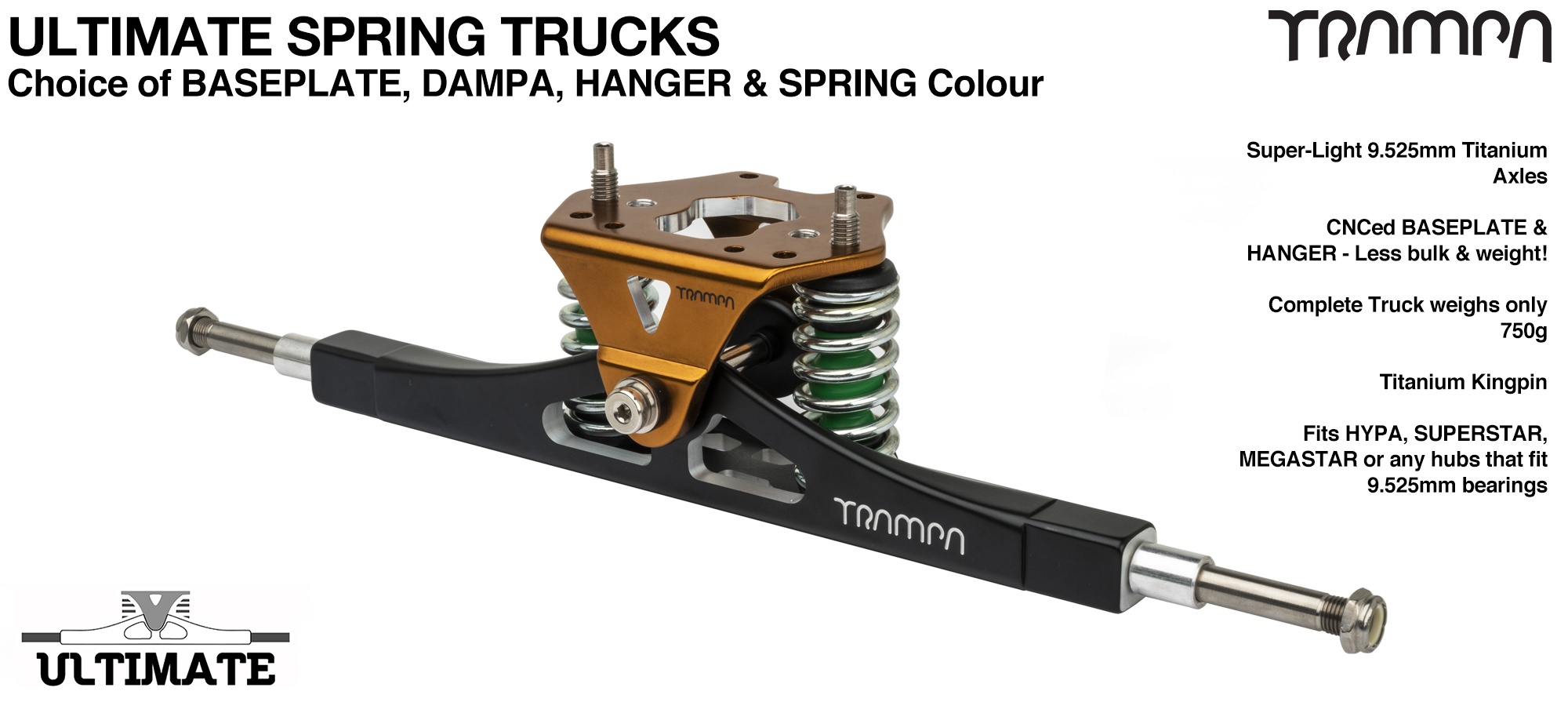 ULTIMATE ATB TRUCK - WHITE ATB Hanger with TITANIUM Axles & Kingpin & BRONZE Baseplate