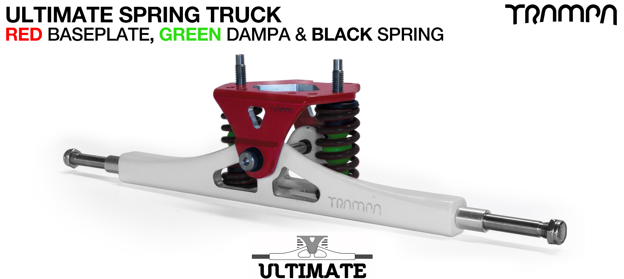 ULTIMATE ATB TRUCK - WHITE ATB Hanger with TITANIUM Axles & Kingpin & RED Baseplate