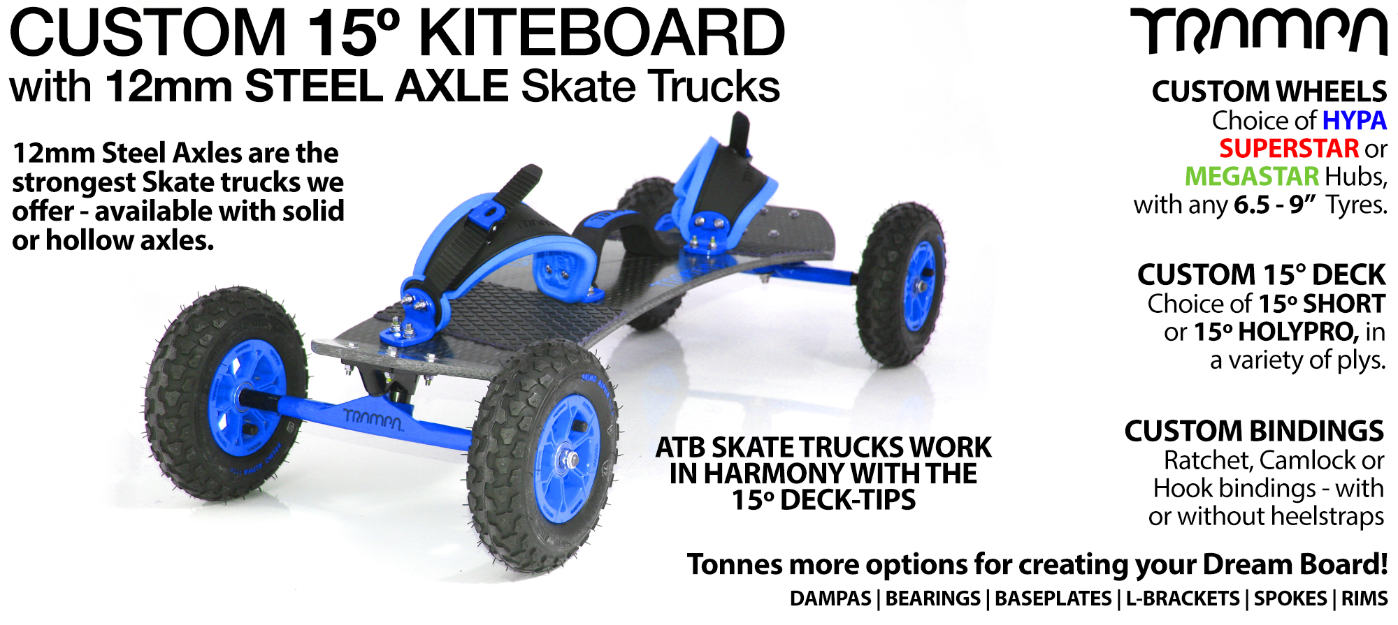 TRAMPA Kiteboard - 12mm Axle Skate Trucks